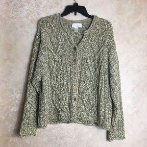J. Jill Size XL Chunky Cardigan Sweater Green